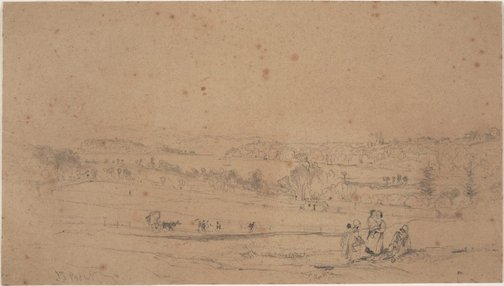 An image of Woolloomooloo Bay (Study for the lithograph in 'Sydney Illustrated') by John Skinner Prout