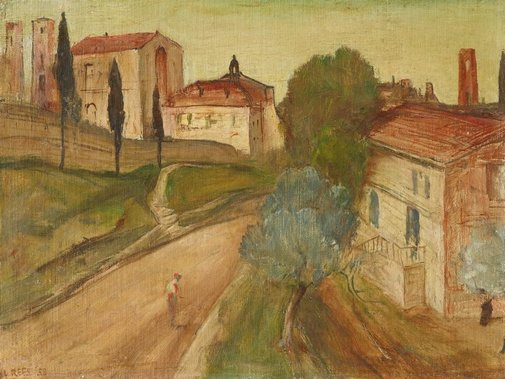 An image of San Gimignano by Lloyd Rees