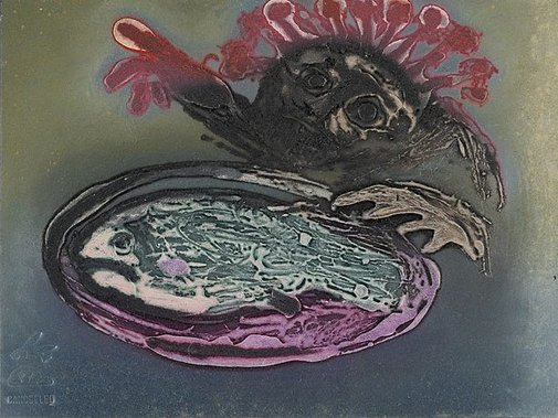 An image of Collagraph plate for 'Flower-headed figure pointing' by Arthur Boyd