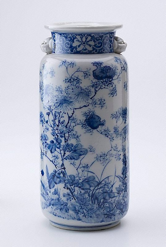 An image of Blue and white vase with design of pomegranate and chrysanthemum