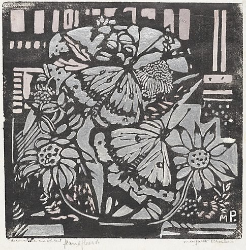 An image of Decorative woodcut, flannel flowers etc