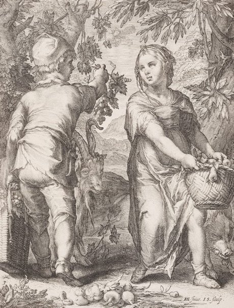 An image of Autumn by Jan Saenredam, after Hendrick Goltzius