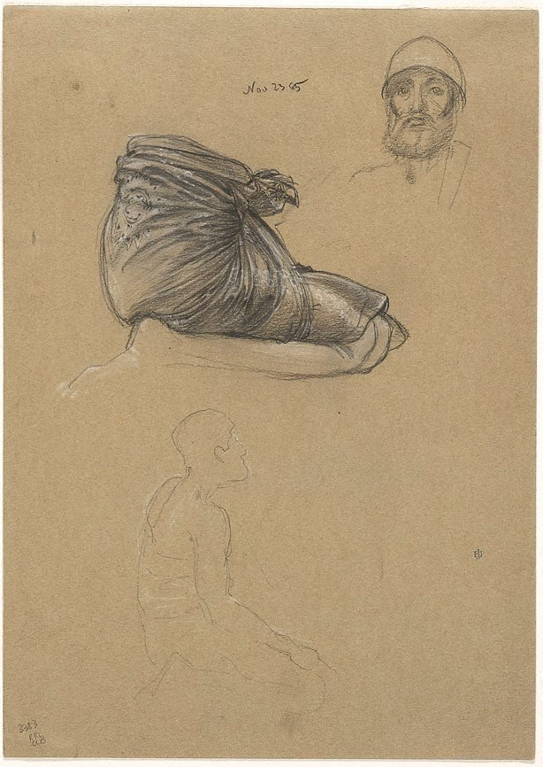 An image of Study of a kneeling figure, and of clothing; study of a bearded head
