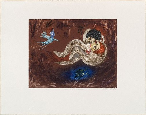 An image of Lovers with blue bird by Arthur Boyd