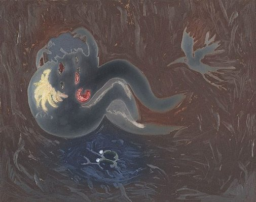 An image of Colour plate for 'Lovers with blue bird' by Arthur Boyd