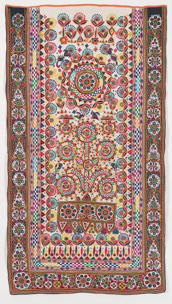 An image of Embroidered cover ('dharaniyos') by