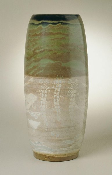 An image of Vase with design of clouds, flowers and birds by Imado-yaki