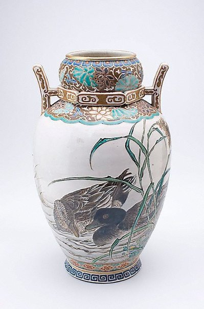 An image of Vase with design of ducks by Meiji export ware