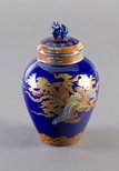 Alternate image of Tea jar with design of dragon and phoenix in clouds by Fukagawa Porcelain Manufacturing Co., Ltd