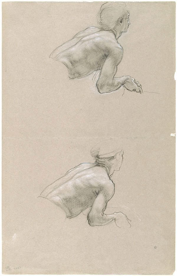 An image of Studies of the upper body of a man, leaning forward