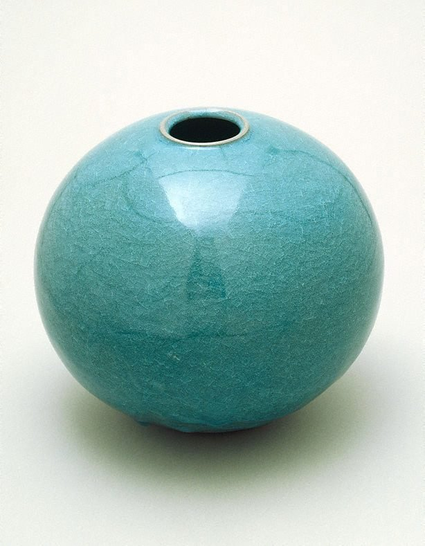 An image of Pot with turquoise crystal glaze