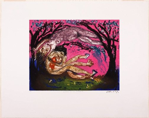 An image of Lovers in an orchard by Arthur Boyd