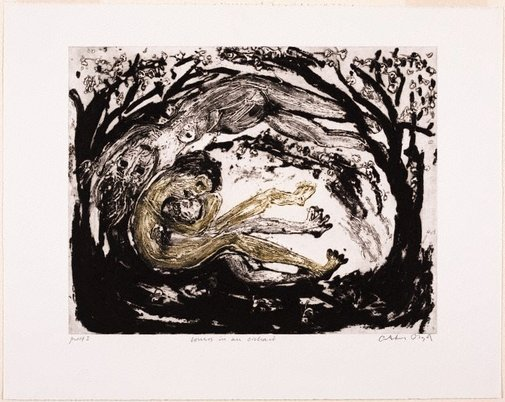 An image of Working proof for 'Lovers in an orchard' by Arthur Boyd