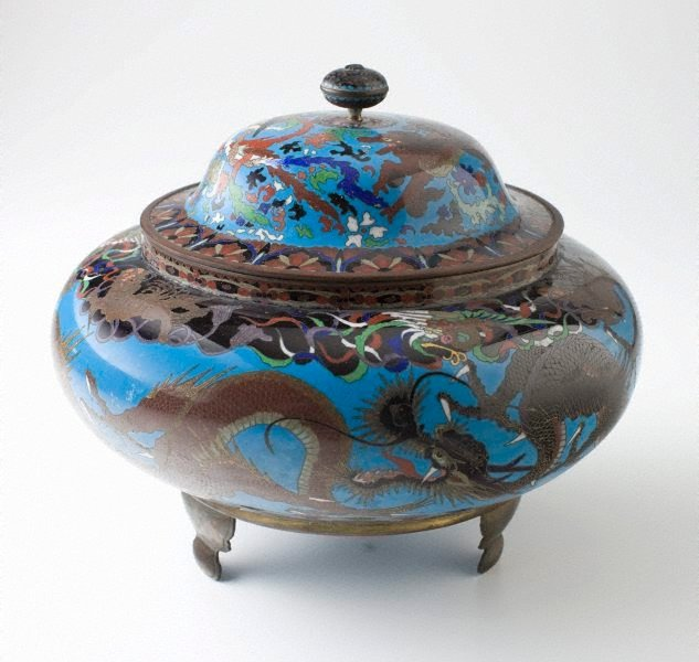 An image of Covered jar with design of dragons and other imaginative animals
