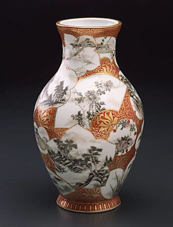 An image of Vase with various designs in panels of different shapes
