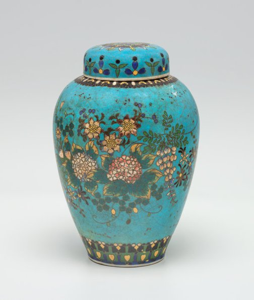 An image of Tea jar decorated with flowers by Takeuchi Chubei, Shippo Kaishi