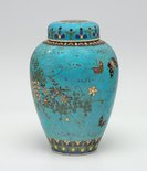 Alternate image of Tea jar decorated with flowers by Takeuchi Chubei, Shippo Kaishi