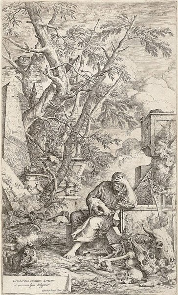 An image of Democritus in meditation by Salvator Rosa