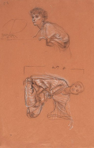 An image of Study of a kneeling figure holding a bowl, and head and shoulders of a seated woman by Sir Edward John Poynter
