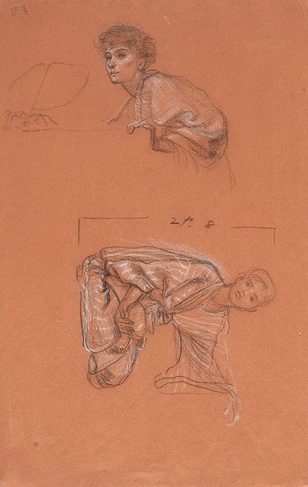 An image of Study of a kneeling figure holding a bowl, and head and shoulders of a seated woman
