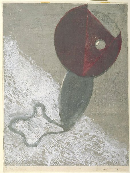 An image of Red flower by Onchi Kōshirō