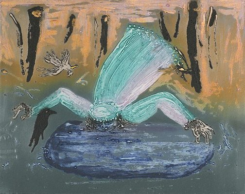 An image of Collagraph plate for 'Bride drinking from a fountain' by Arthur Boyd