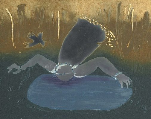 An image of Colour plate for 'Bride drinking from a fountain' by Arthur Boyd