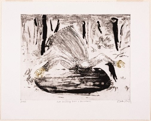 An image of Working proof for 'Bride drinking from a fountain' by Arthur Boyd