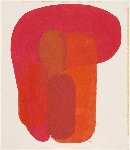 An image of Form no.11, red by Onchi Kōshirō
