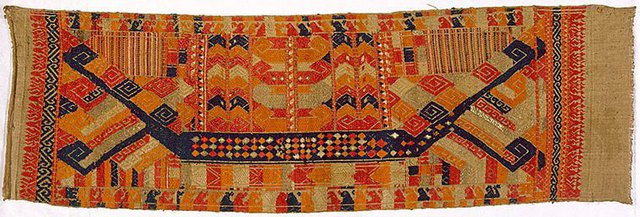 An image of Tatibin (ceremonial cloth) with images of ships
