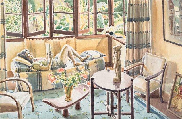 An image of (Interior, Mona Vale: Rene reading)