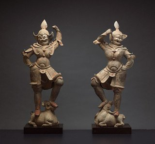 AGNSW collection A pair of tomb guardian figures late 6th century-early 7th century