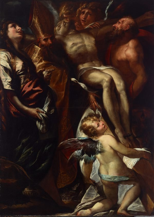 An image of The dead Christ on the cross with Sts Mary Magdalene, Augustine and Jerome, and angels