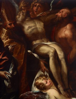 Alternate image of The dead Christ on the cross with Sts Mary Magdalene, Augustine and Jerome, and angels by Giulio Cesare Procaccini