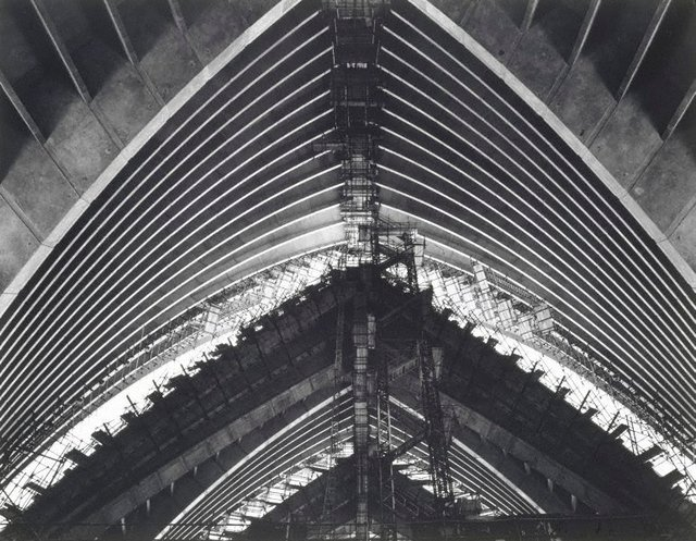 An image of Concert Hall in construction (Sydney Opera House)