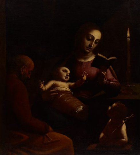 AGNSW collection Luca Cambiaso Holy Family with St John the Baptist (circa 1578) 25.1992