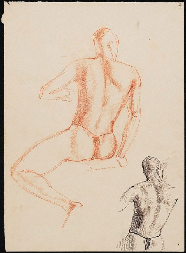 An image of Two studies of a seated male nude in a loin cloth, viewed from behind, London