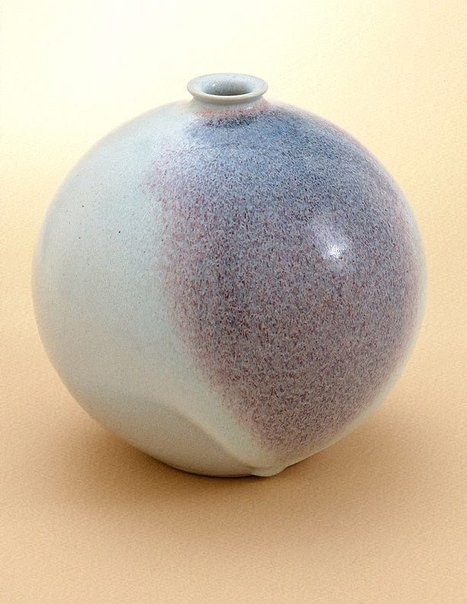 An image of Round pot with blue chun and copper red splash by SHIGA Shigeo