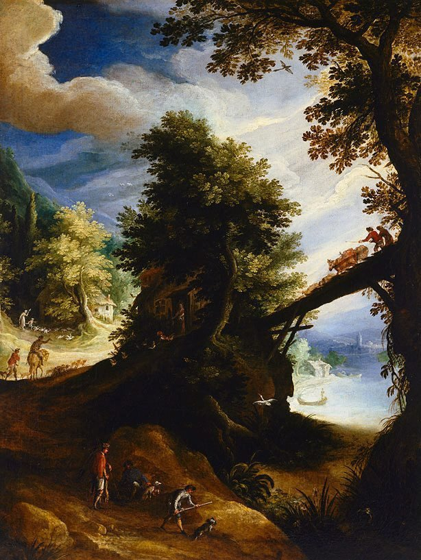 An image of A wooded landscape with a bridge and sportsmen at the edge of the river