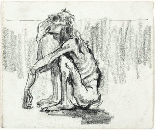 An image of Starving seated man by Albert Tucker