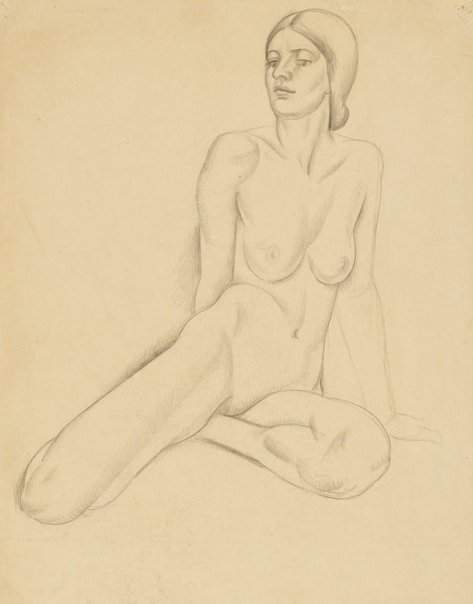 An image of Seated nude with hair in a neck bun by Dorrit Black