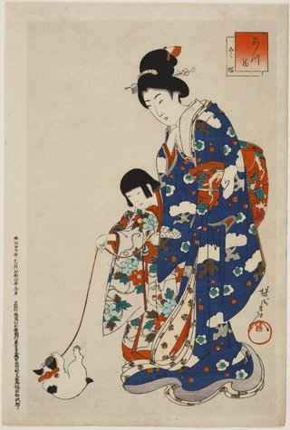 AGNSW collection Toyohara (Yōshū) Chikanobu Atsuma Nobori-bashi 1896