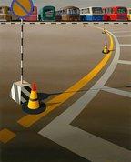Bus terminus, 1973 by Jeffrey Smart