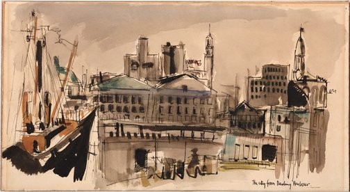An image of The city from Darling Harbour by Brett Whiteley