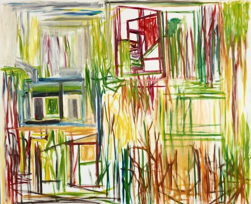 An image of Window, houses and trees by Ken Whisson