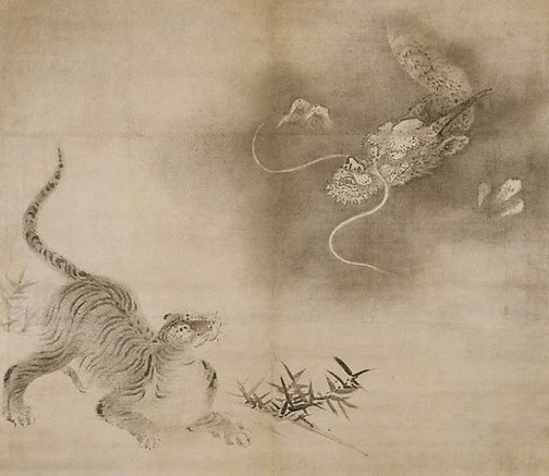 An image of Dragon and tiger by attrib. Kanô Takanobu