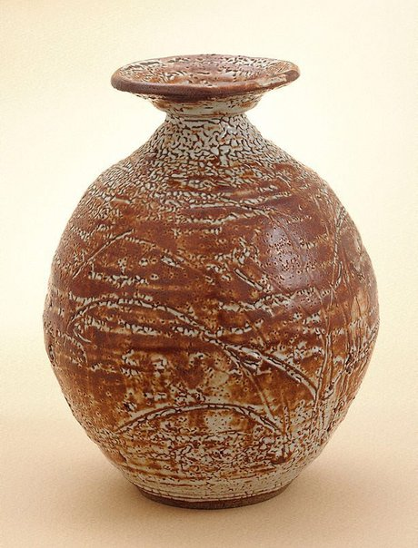 An image of Jar with Shino-type glaze by Shiga Shigeo