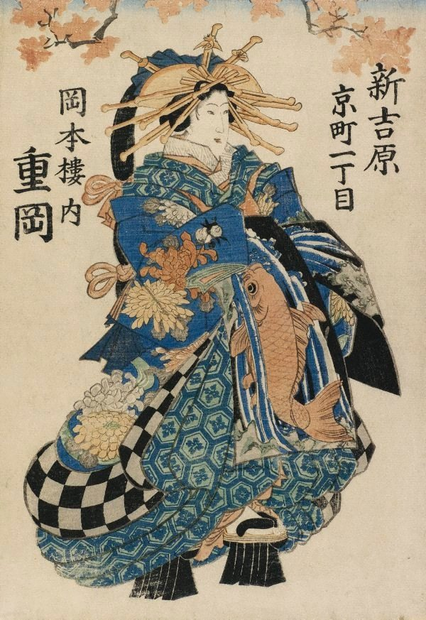 An image of Courtesan Shigeoka of Okamotorō (in Kyōmachi 1-chome, Shin-Yoshiwara)