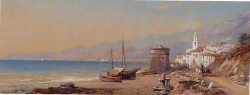 An image of Italian coast with town by Thomas Charles Leeson II Rowbotham