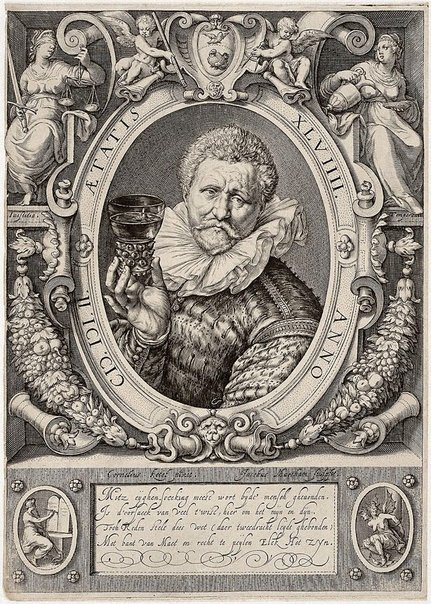 An image of Vincent Jacobsz., gauger and wine-merchant in Amsterdam by Jacob Matham, after Cornelius Ketel